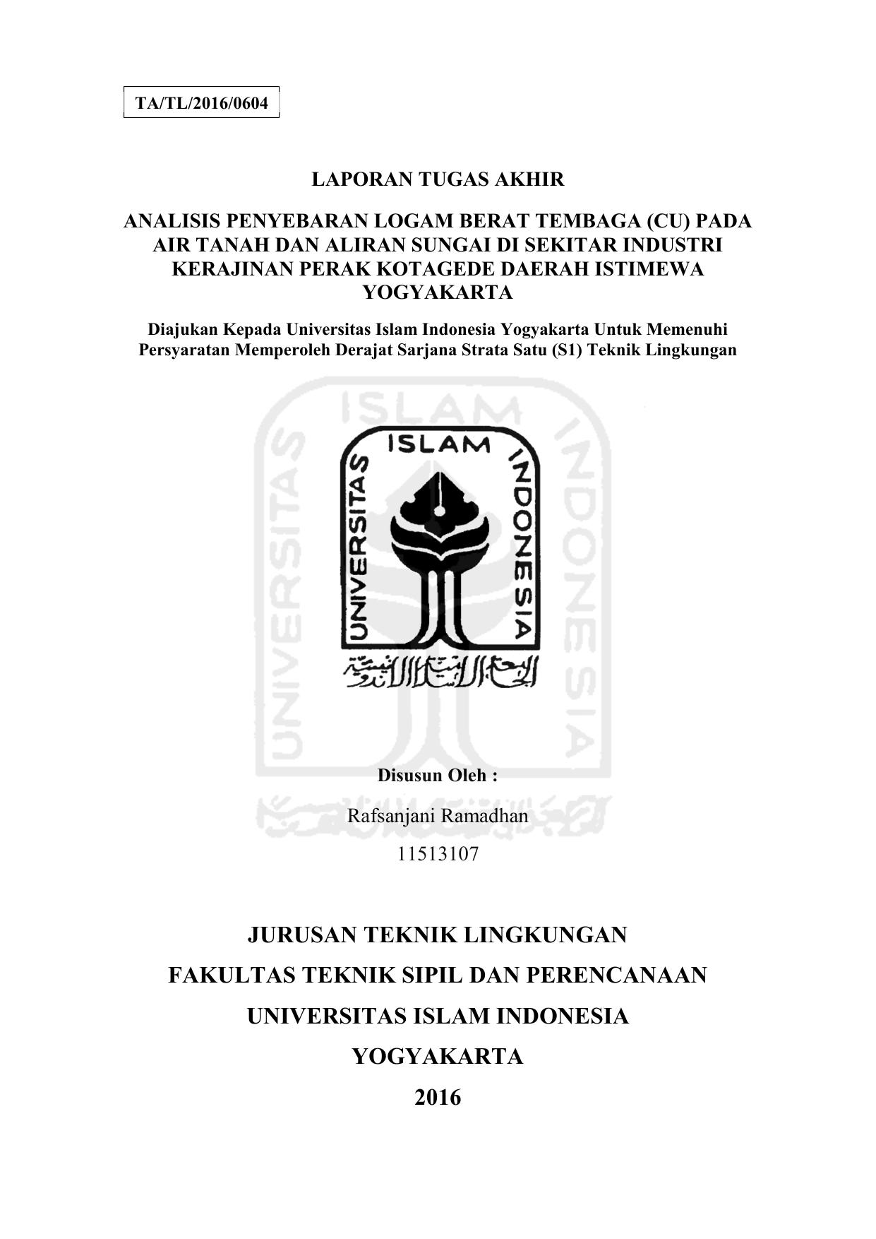 Jurusan Teknik Lingkungan Fakultas Teknik Sipil Dan Perencanaan