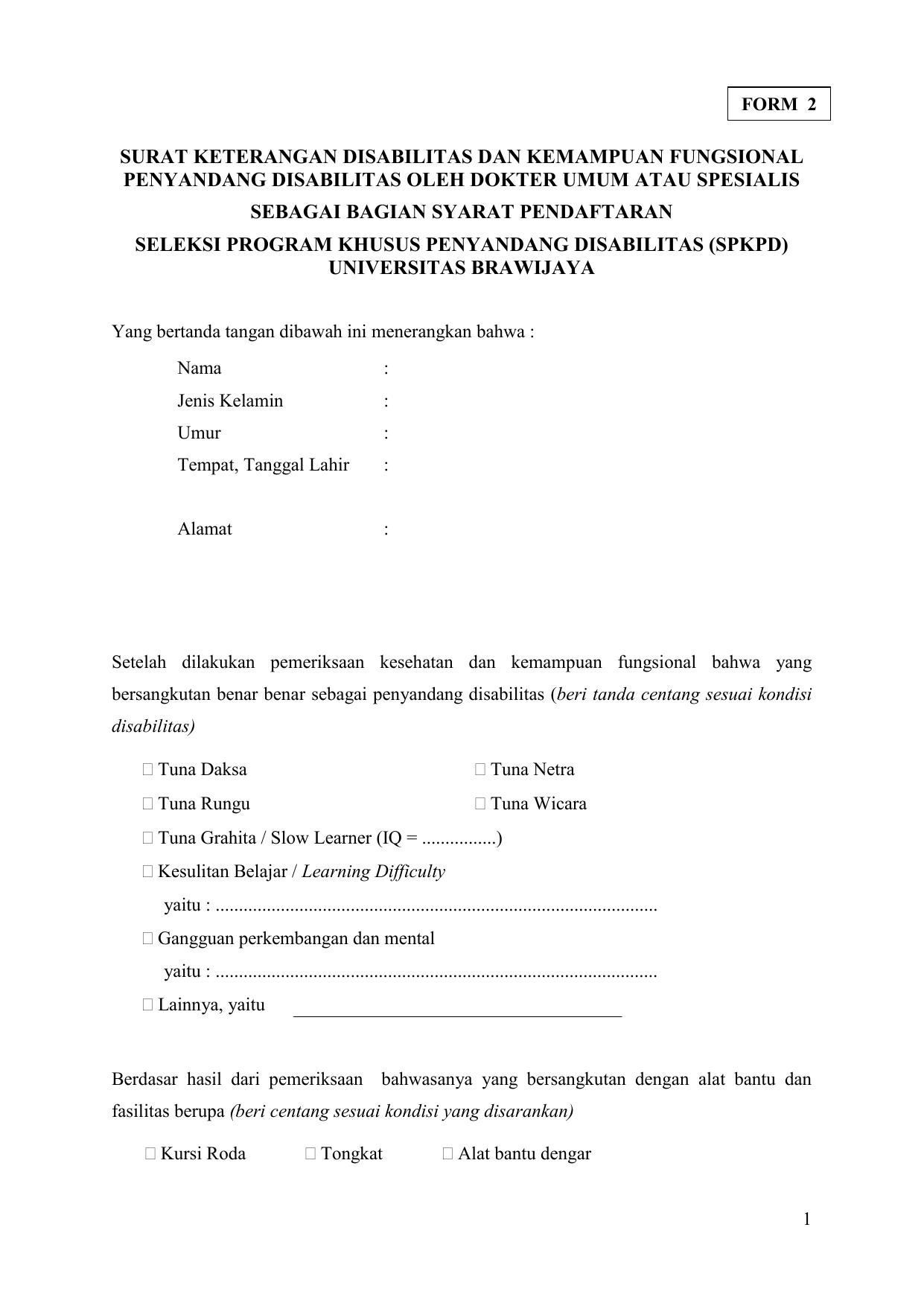 Surat Keterangan Disabilitas Dan Kemampuan Fungsional