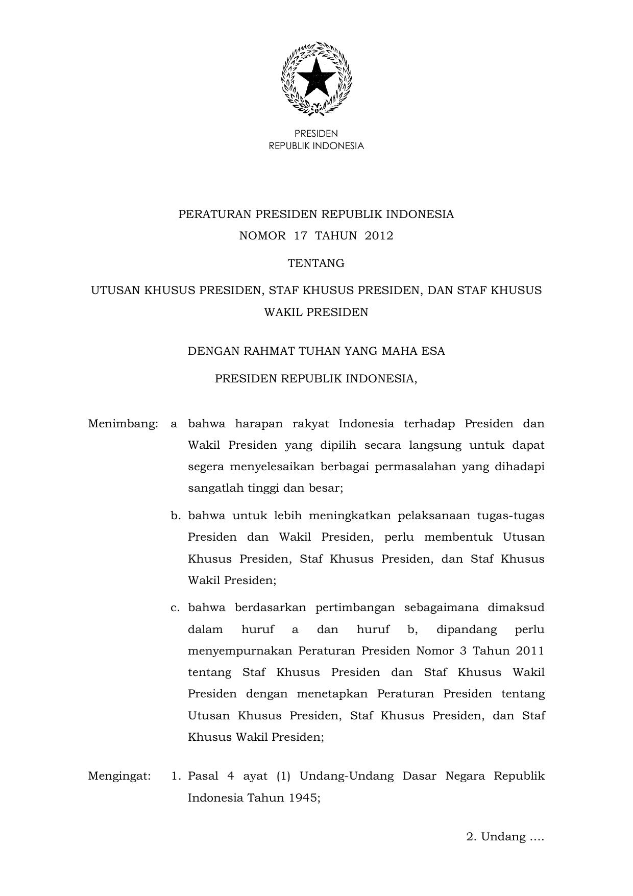 Peraturan Presiden Republik Indonesia Nomor 17 Tahun 2012