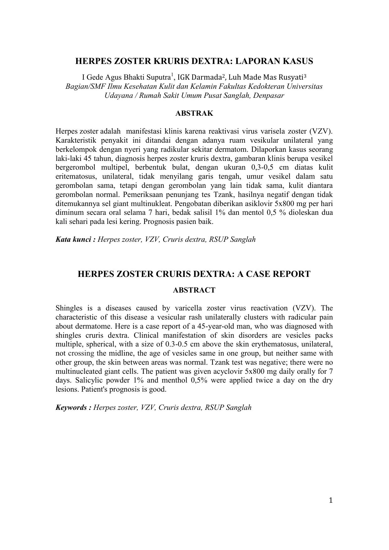 Herpes Zoster Kruris Dextra Laporan Kasus Herpes