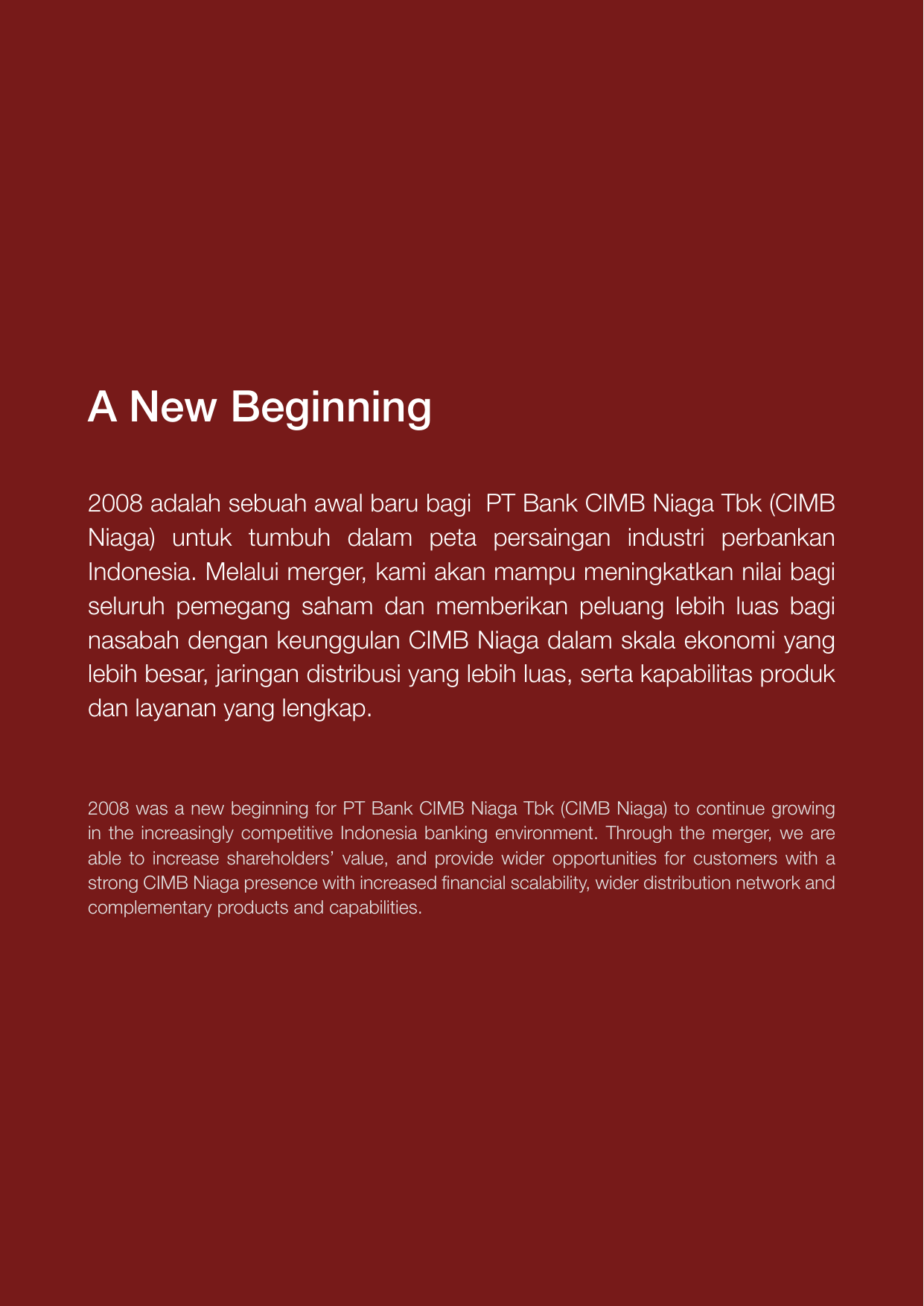 A New Beginning Bank Cimb Niaga