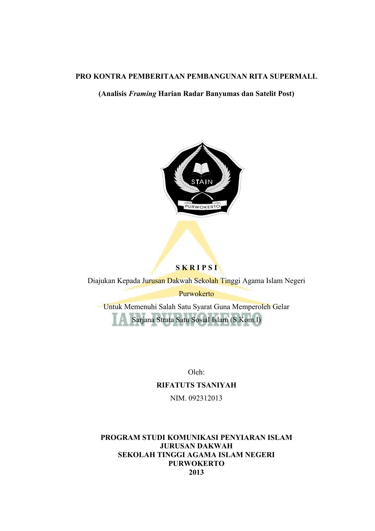 Pro Kontra Pemberitaan Pembangunan Rita Supermall