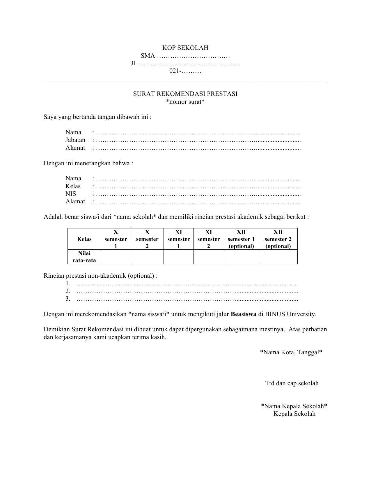 Contoh Surat Rekomendasi Kepala