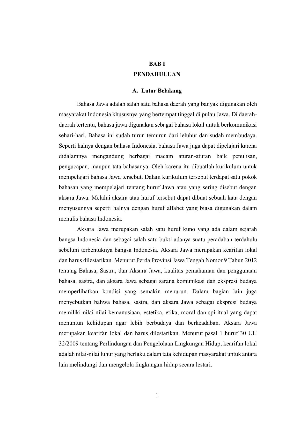 1 Bab I Pendahuluan A Latar Belakang Bahasa Jawa Adalah