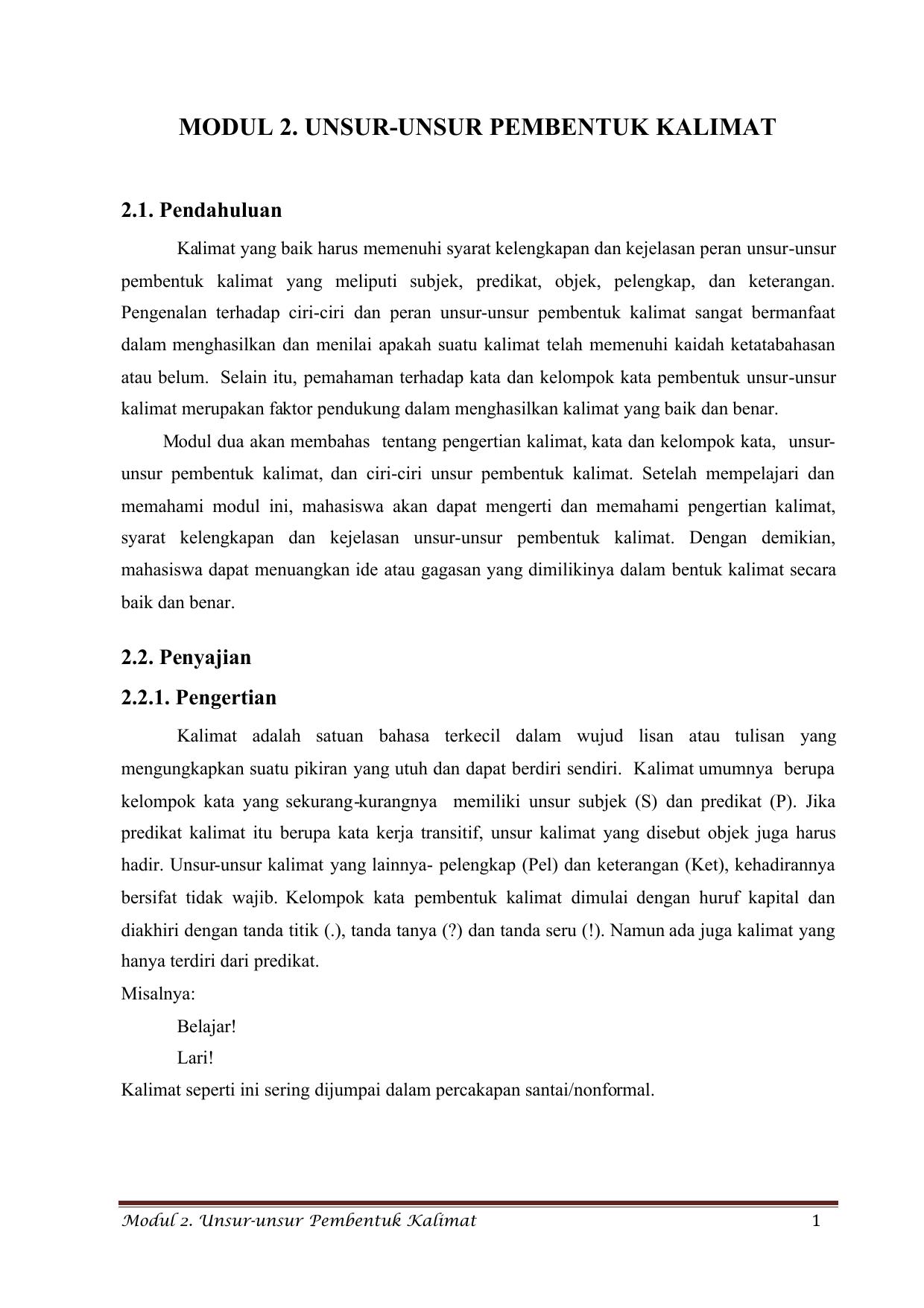 Modul 2 Unsur Unsur Pembentuk Kalimat