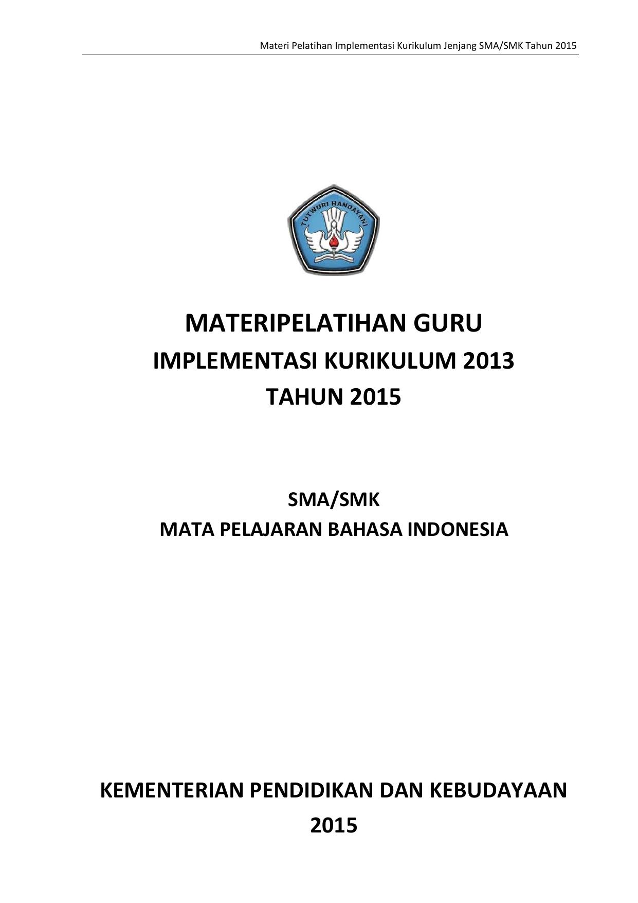 Materipelatihan Guru Mgmp Bahasa Indonesia Smk