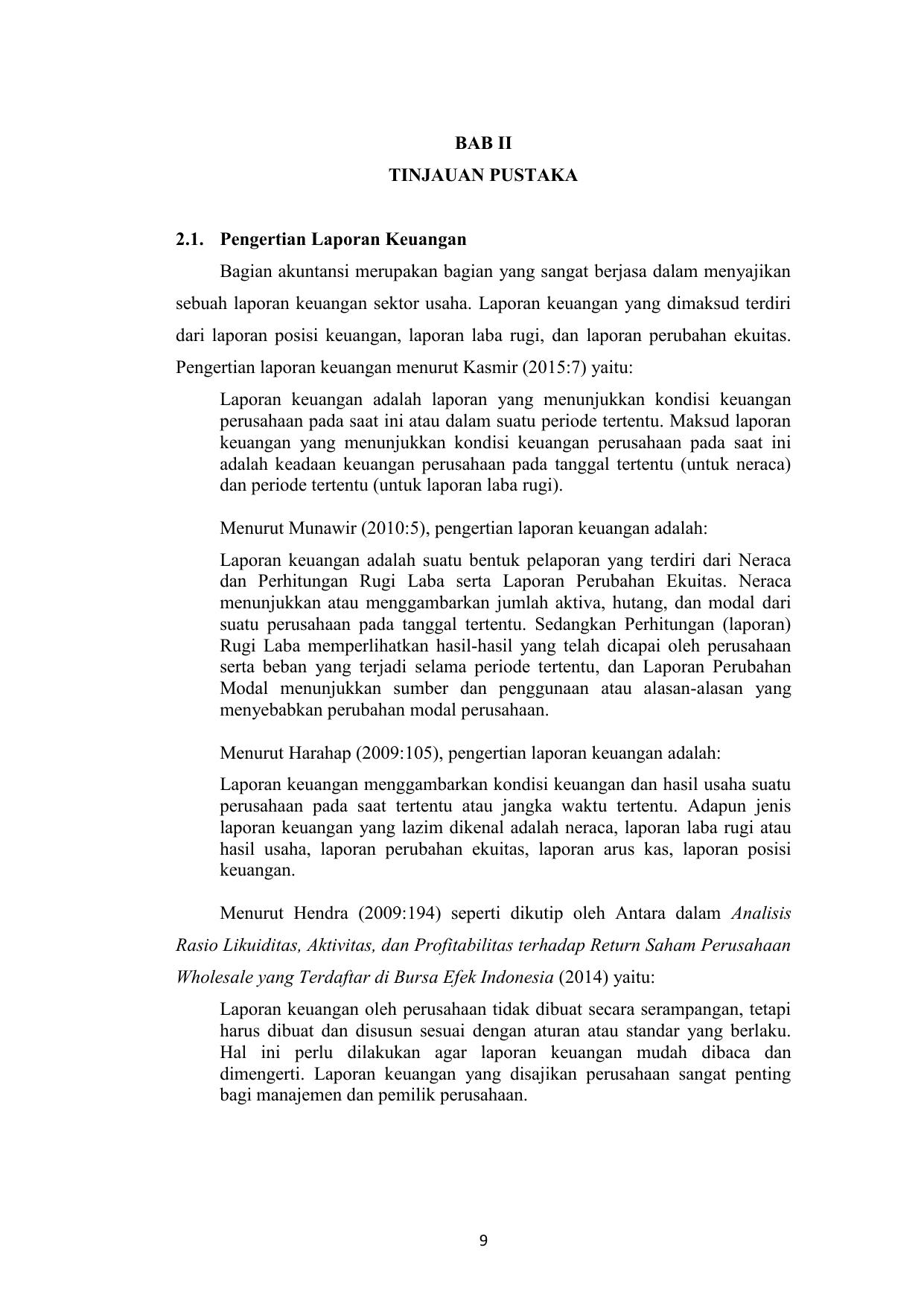 Bab Ii Tinjauan Pustaka 2 1 Pengertian Laporan Keuangan