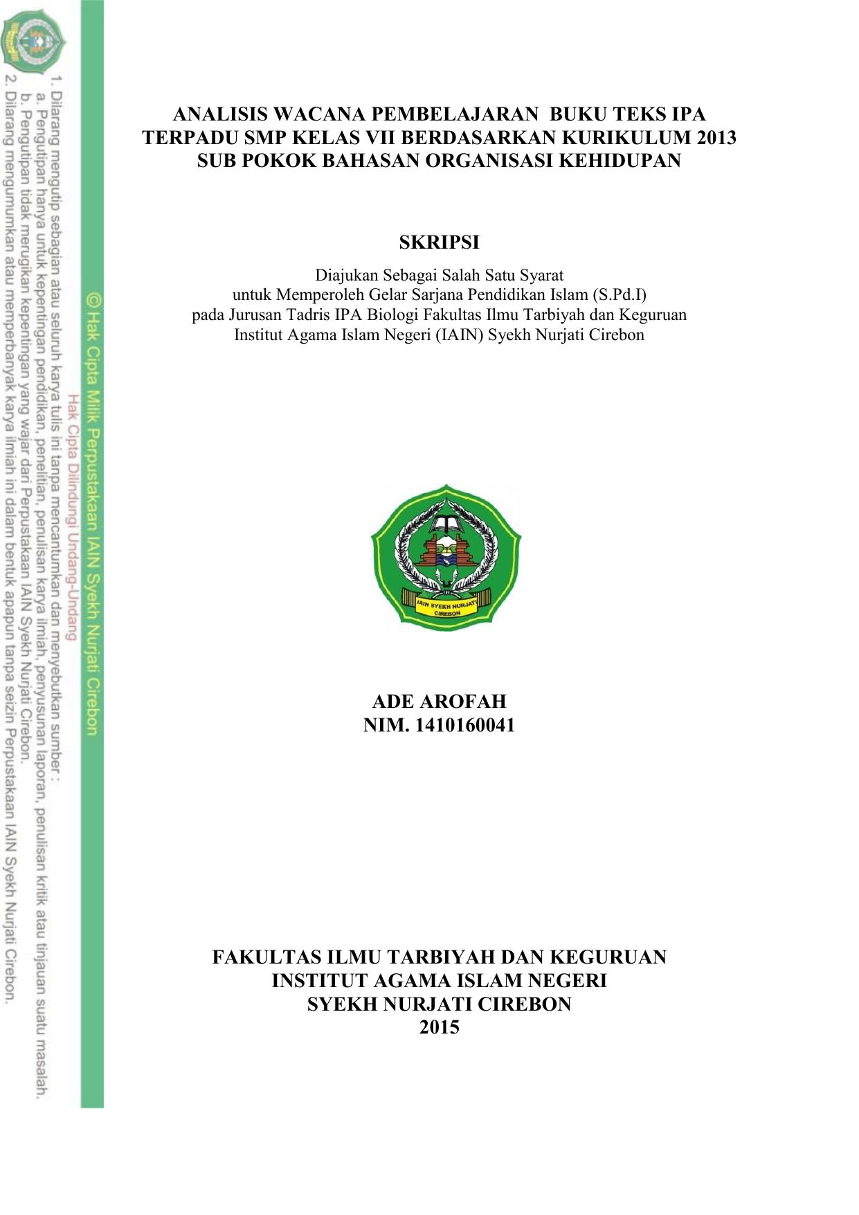 Analisis Wacana Pembelajaran Buku Teks Ipa Terpadu Smp Kelas Vii