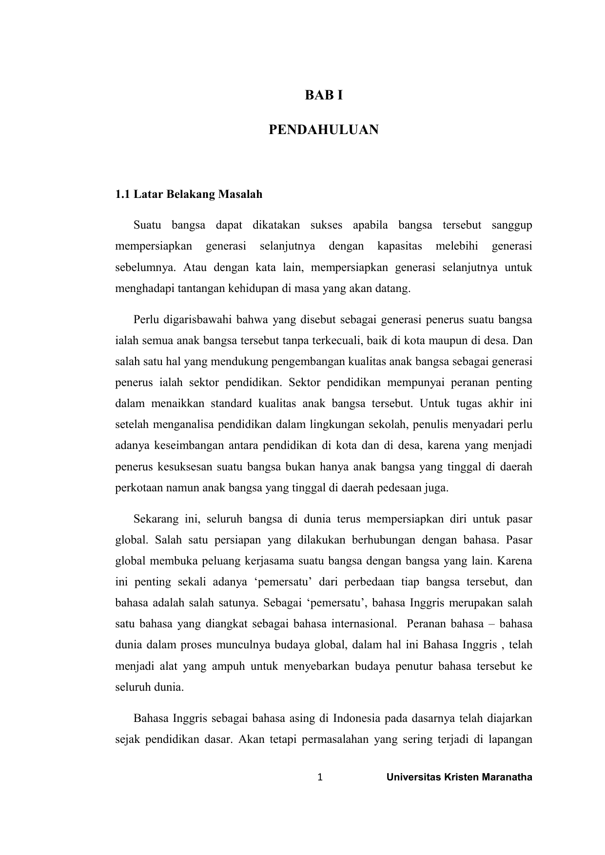 Bab I Pendahuluan Repository Maranatha