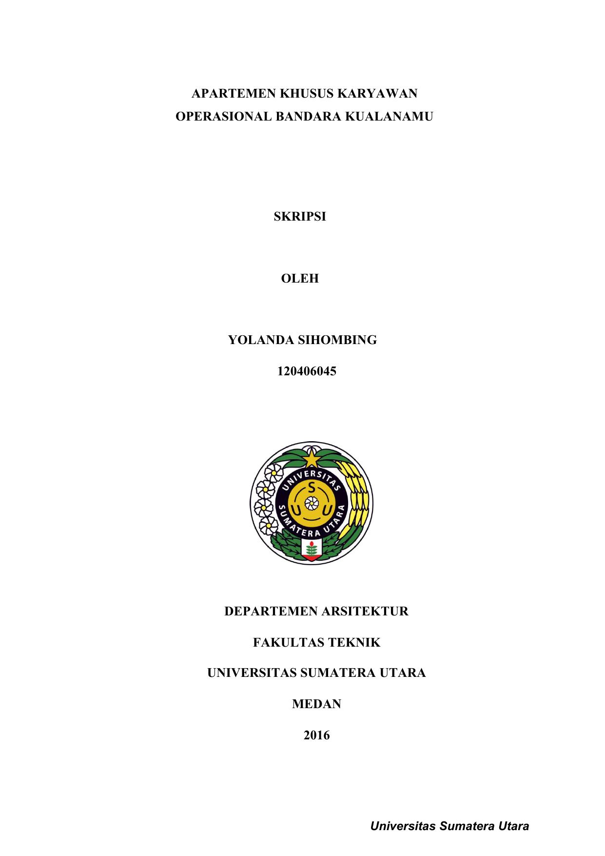 Departemen Arsitektur Fakultas Teknik Universitas Sumatera Usu Ir