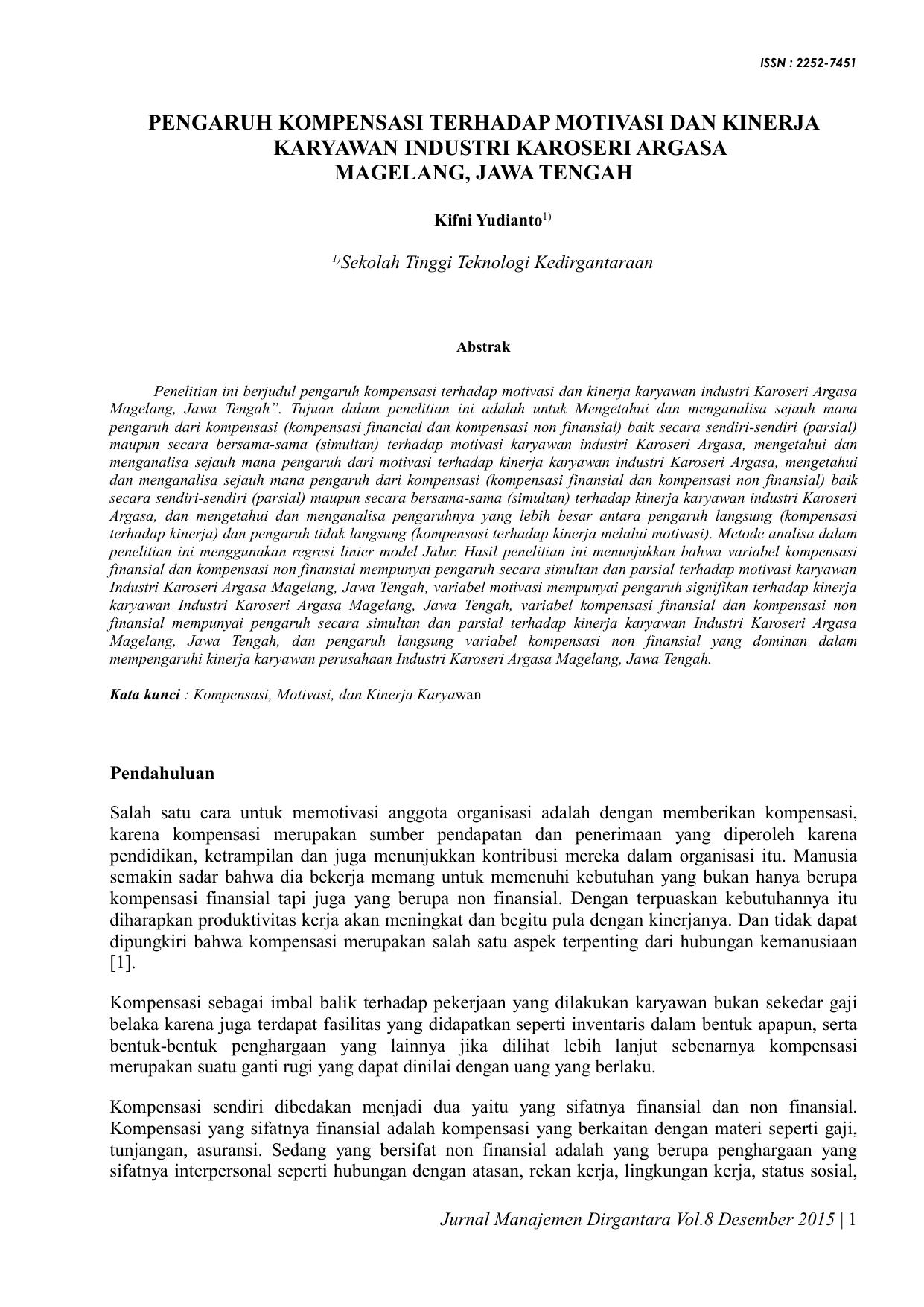 Skripsi Pengaruh Kompensasi Dan Motivasi Terhadap Kinerja Karyawan Kumpulan Berbagai Skripsi