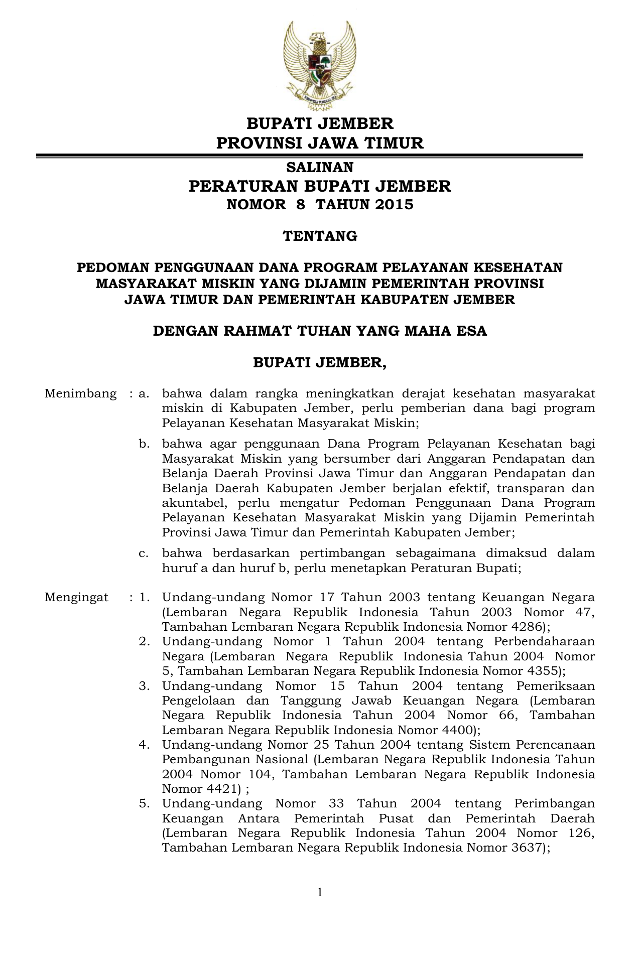 Peraturan Bupati Jember Jdih Kabupaten Jember