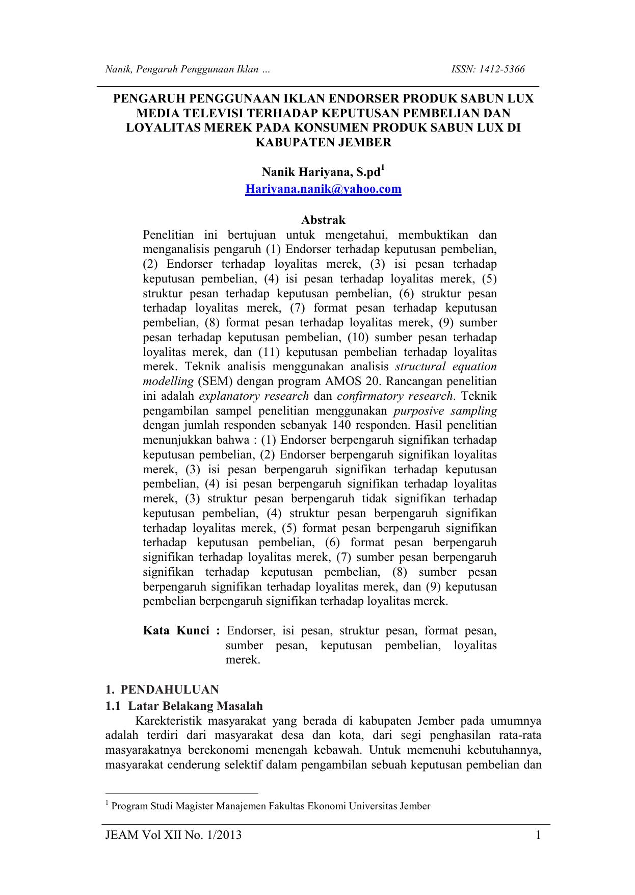 Jeam Vol Xii No 1 2013 1 Pengaruh Penggunaan Iklan