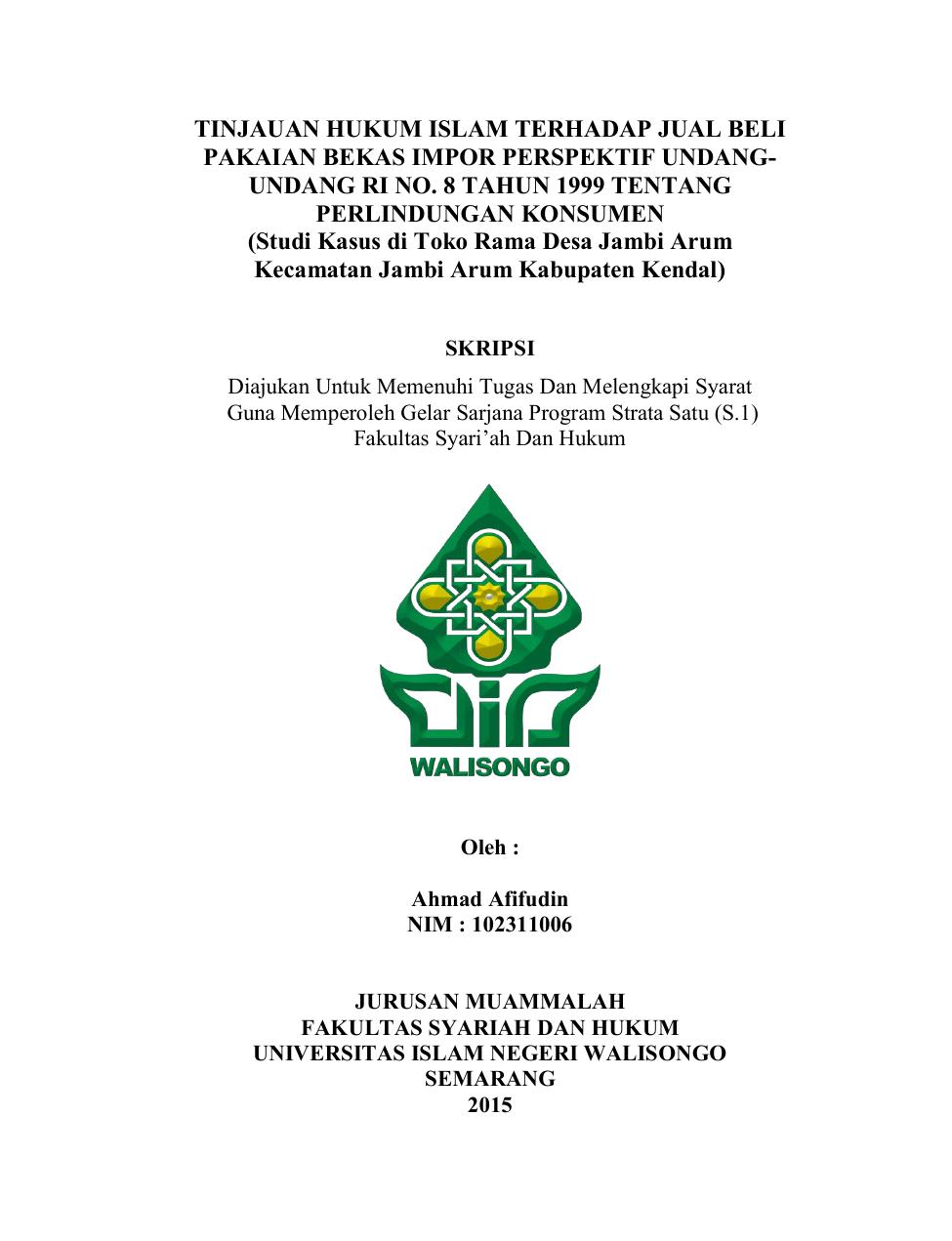 Tinjauan Hukum Islam Terhadap Jual Beli Pakaian Bekas Impor