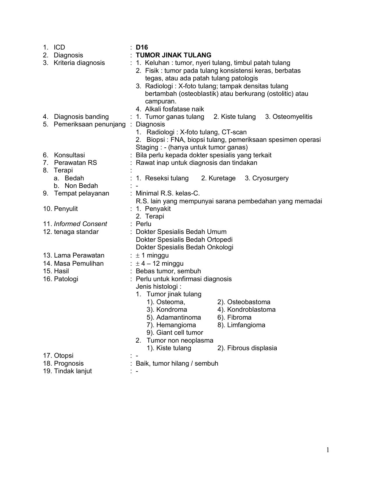 Tumor Jinak Tulang 3 Kriteria Diagnosis