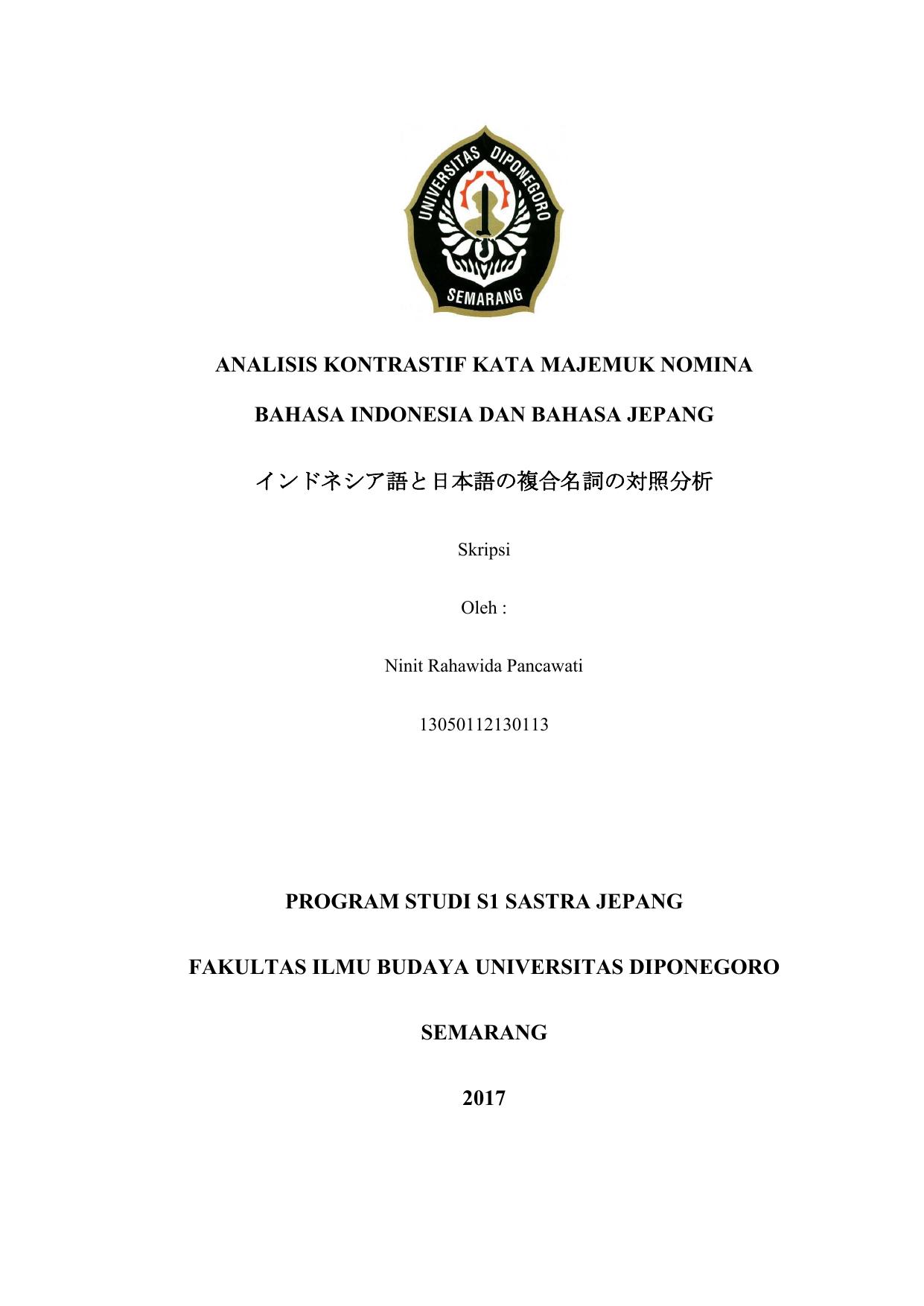 Contoh Skripsi Sastra Jepang Bidang Linguistik Kumpulan Berbagai Skripsi