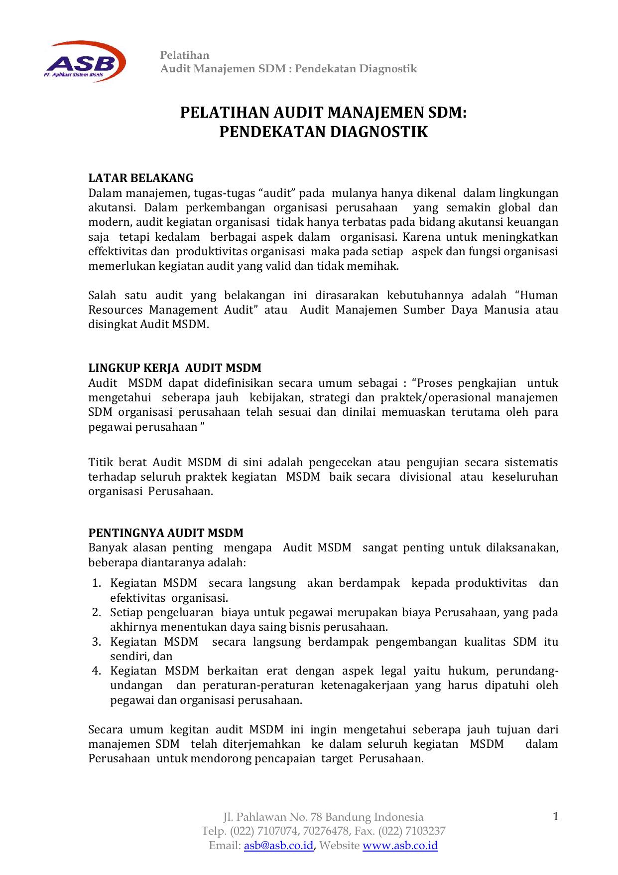 Doc Audit Sumber Daya Manusia Sdm Jeffri Fauzan Academia Edu
