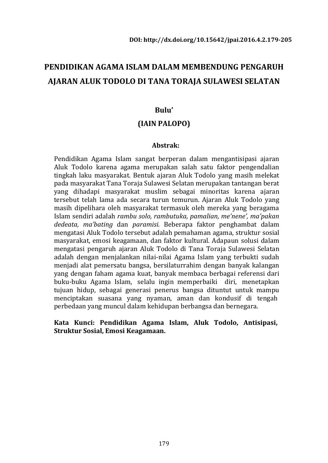 Pendidikan Agama Islam Dalam Membendung Pengaruh Ajaran Aluk