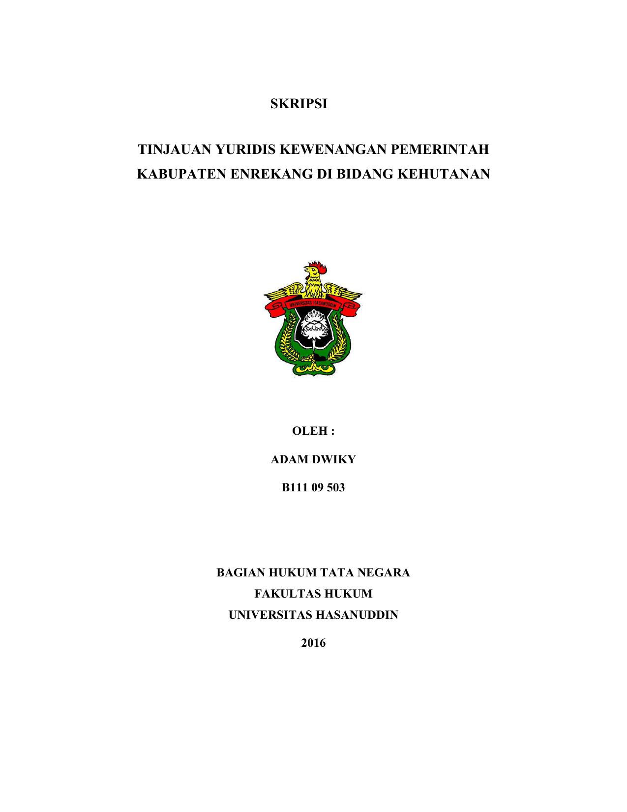 Skripsi Tinjauan Yuridis Kewenangan Pemerintah Kabupaten