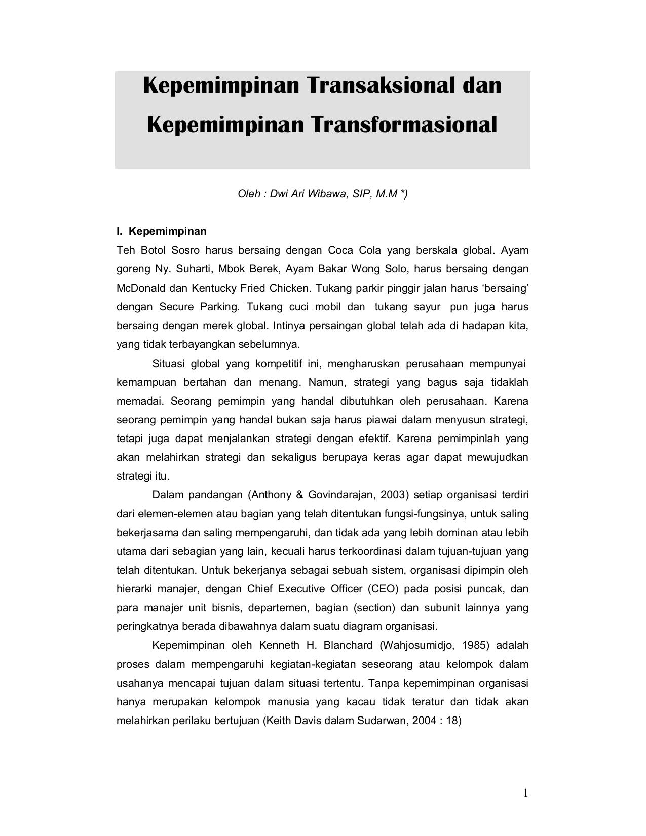 Kepemimpinan Transaksional Dan Kepemimpinan Transformasional