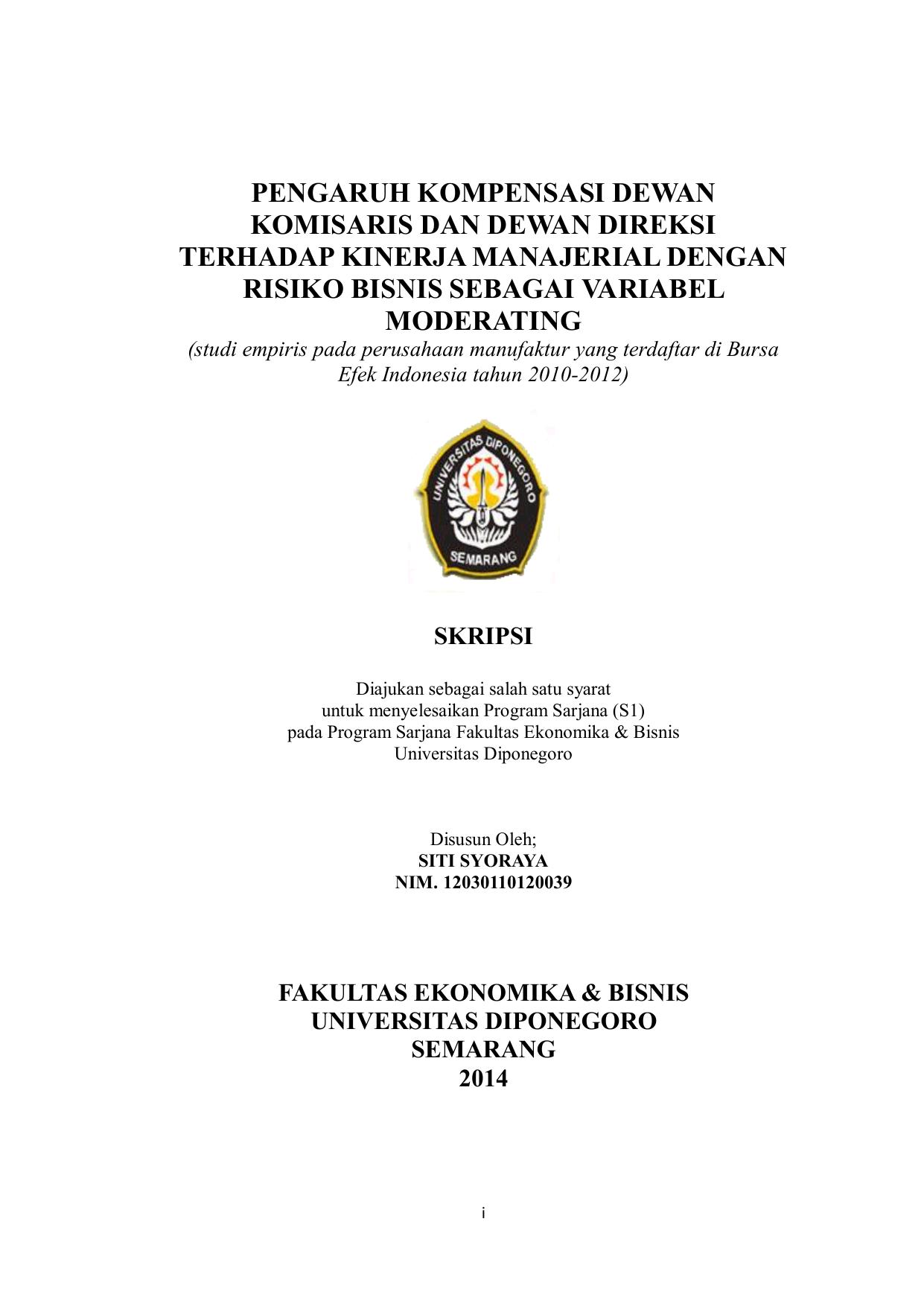 Pengaruh Kompensasi Dewan Komisaris Dan Dewan