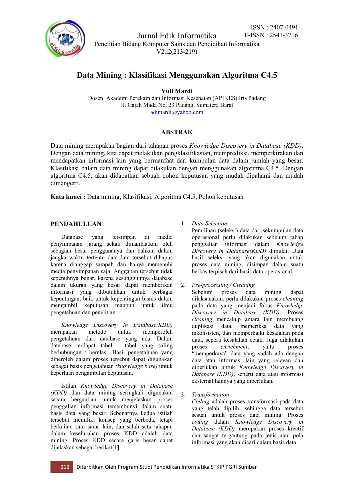 Jurnal Edik Informatika Data Mining Klasifikasi