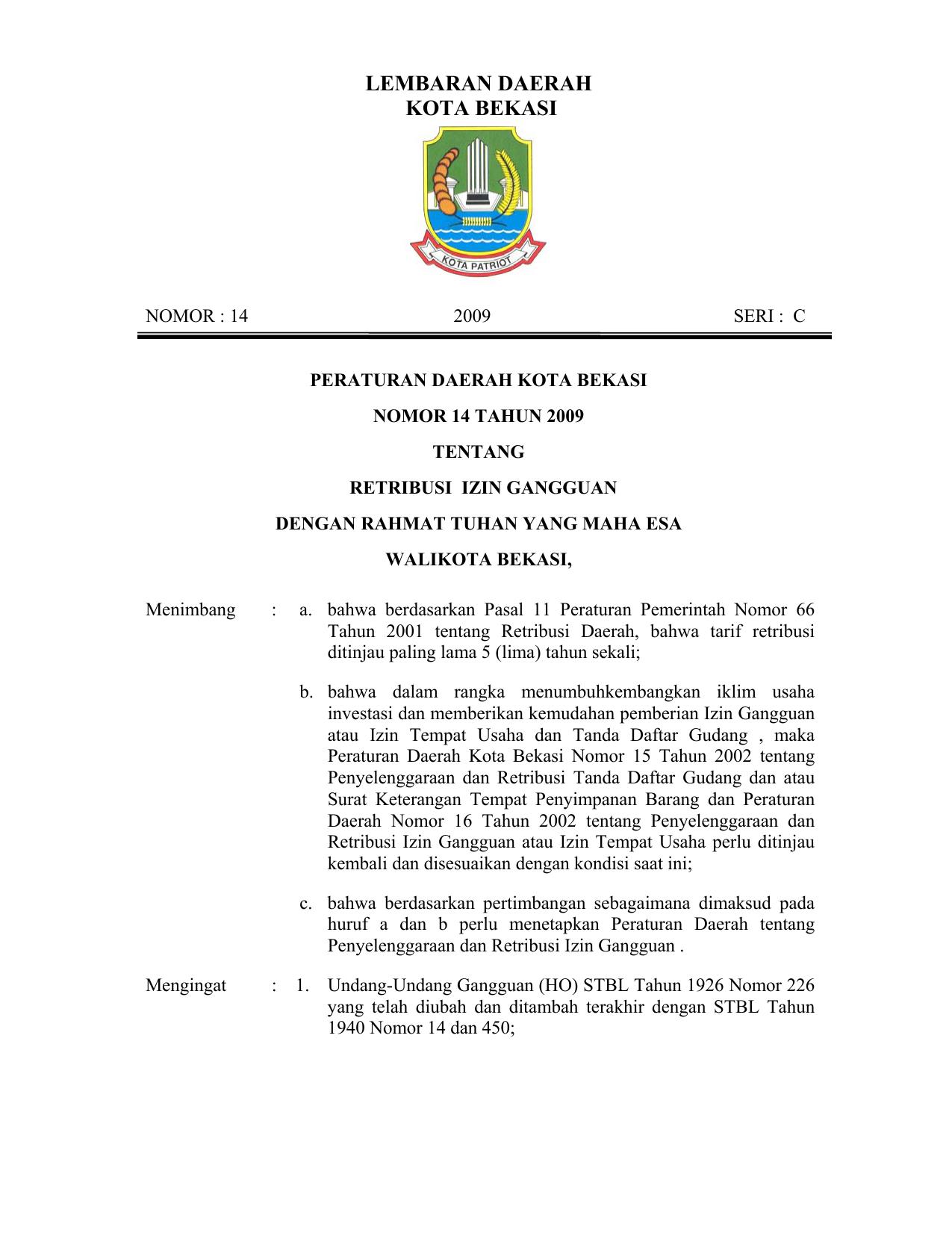 Peraturan Daerah Kota Bekasi