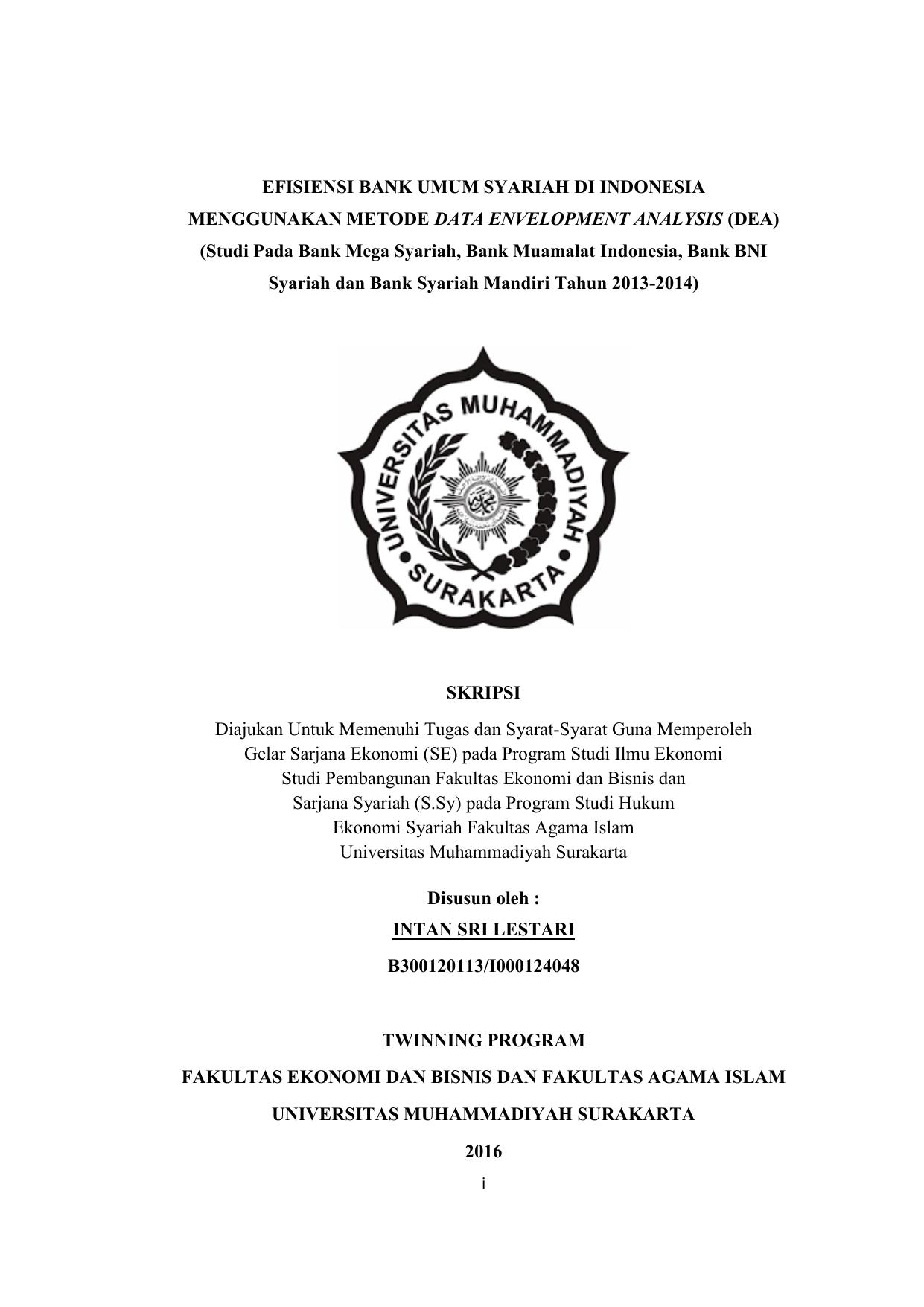 Efisiensi Bank Umum Syariah Di Indonesia