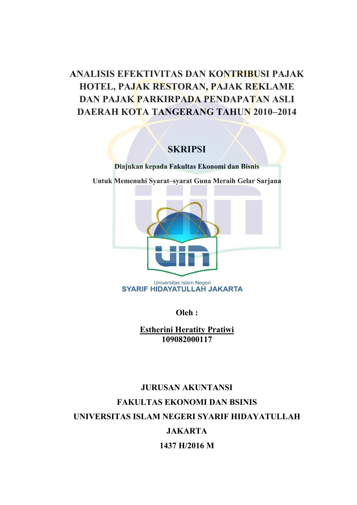 Analisis Efektivitas Dan Kontribusi Pajak Hotel Pajak