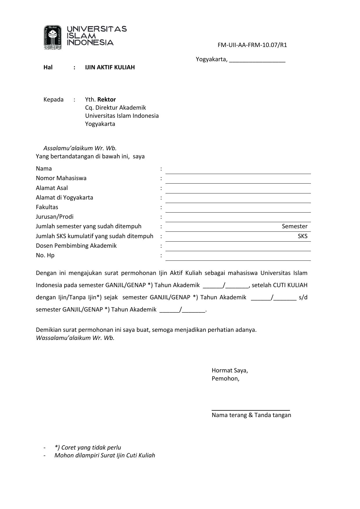 Form Pengajuan Aktif Kuliah