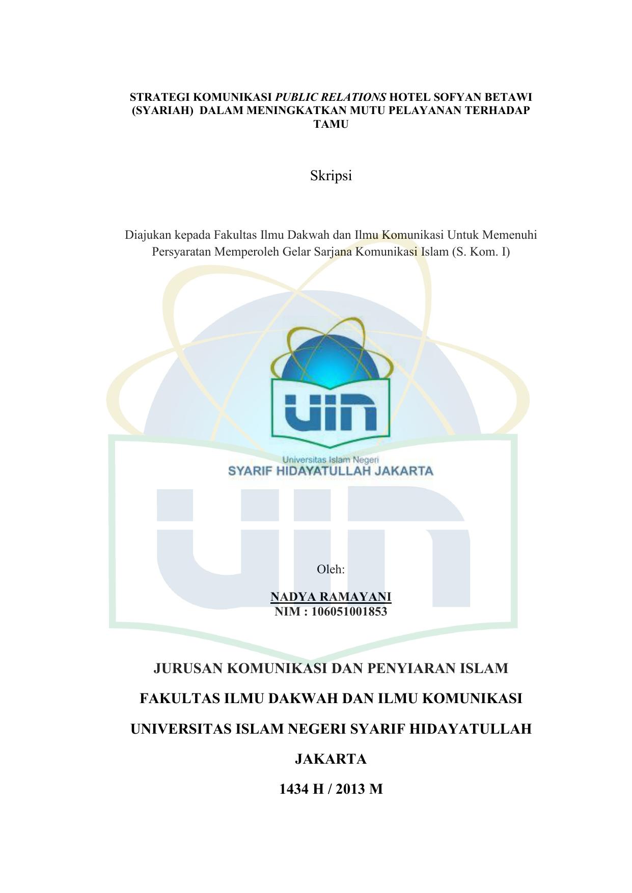 Skripsi Jurusan Komunikasi Dan Penyiaran