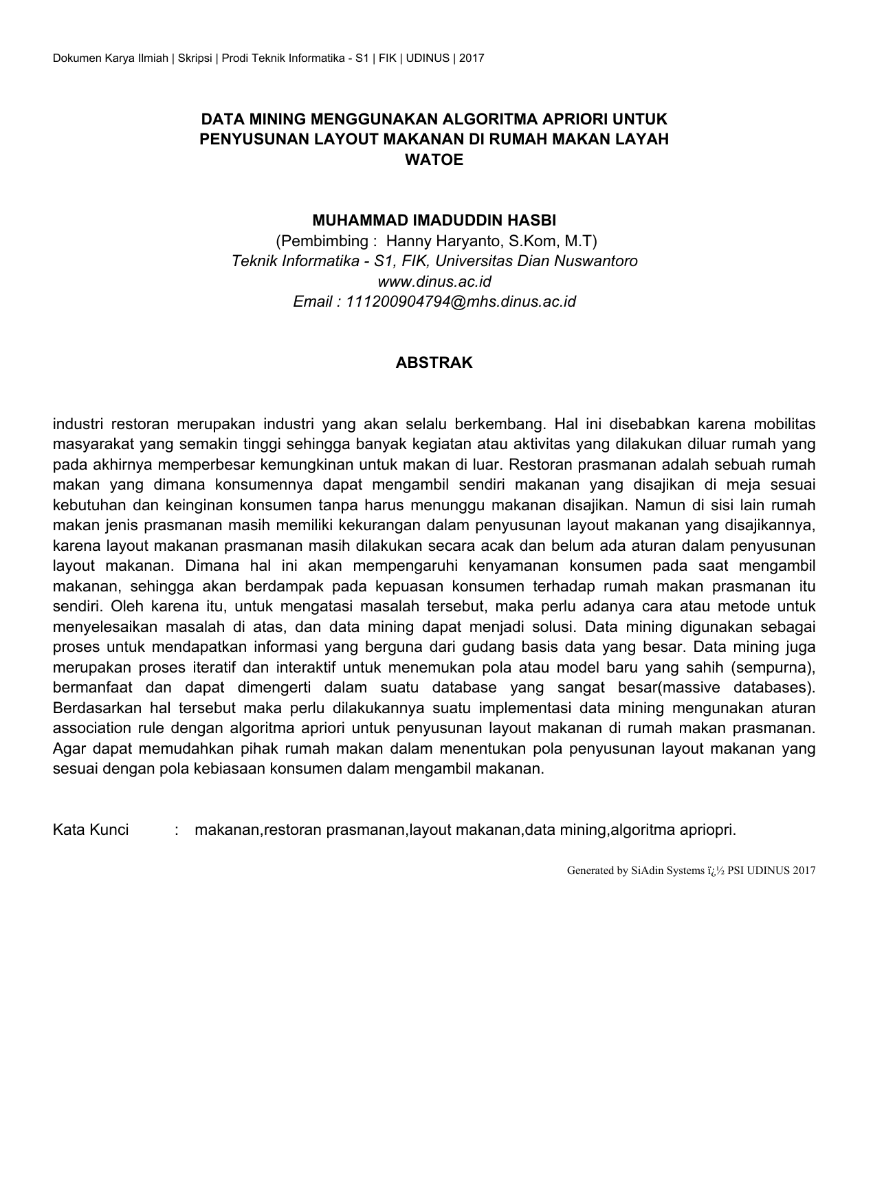 Data Mining Menggunakan Algoritma Apriori Untuk Penyusunan