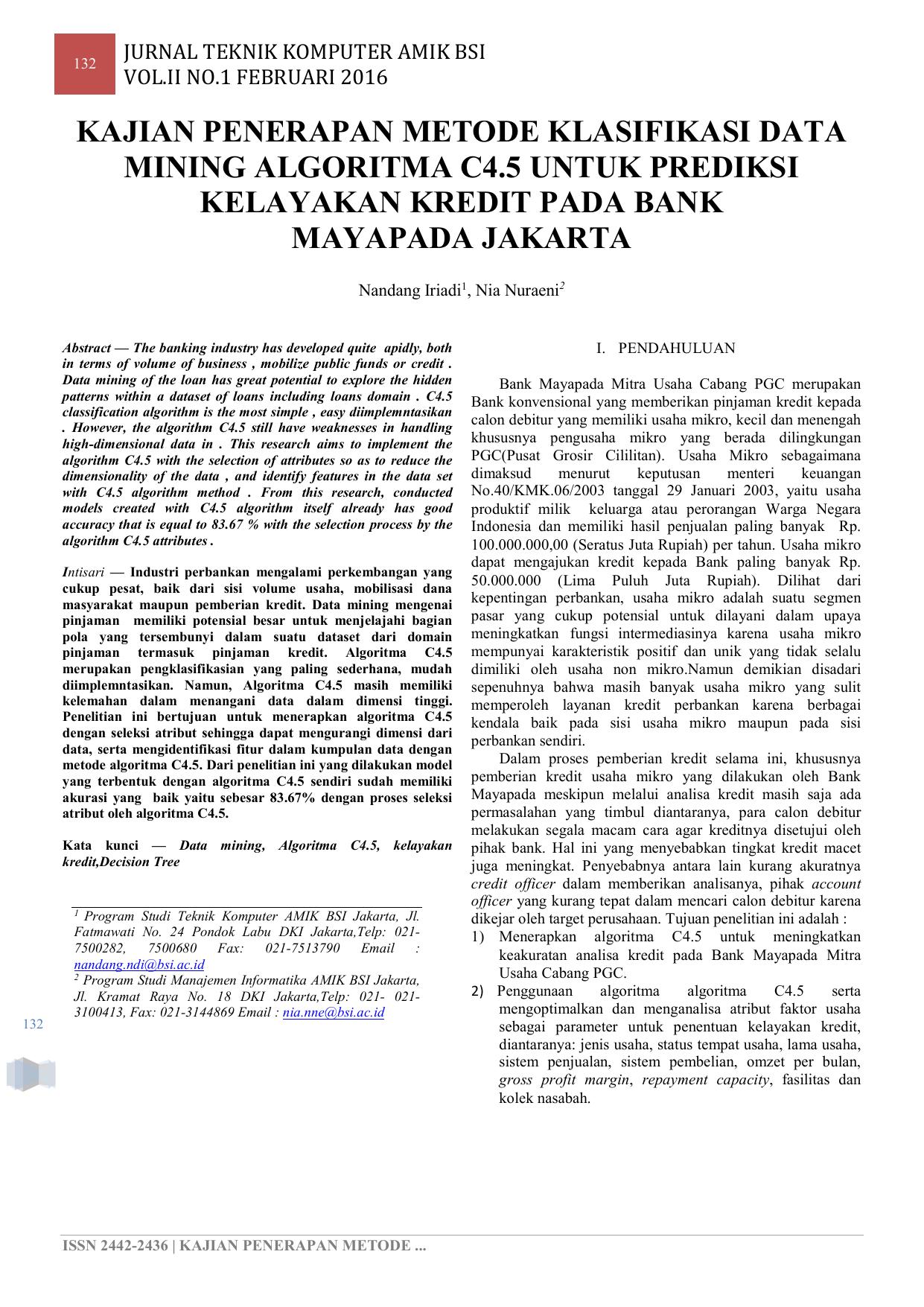 Kajian Penerapan Metode Klasifikasi Data Mining E