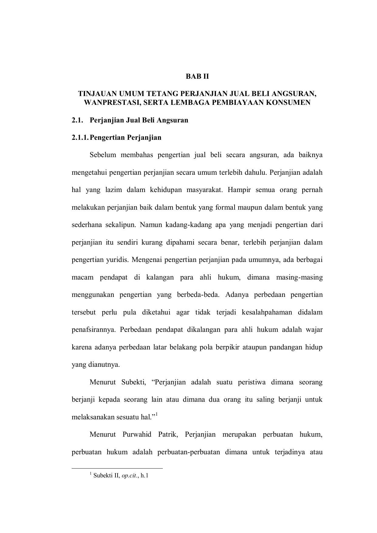 Bab Ii Tinjauan Umum Tetang Perjanjian Jual Beli
