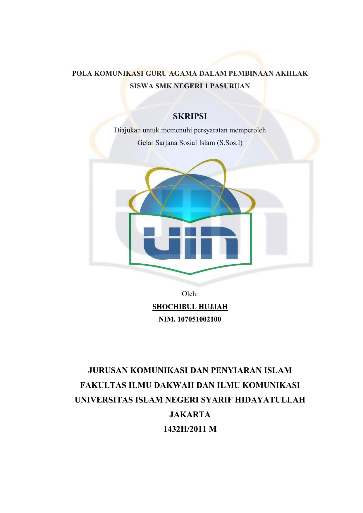 Skripsi Jurusan Komunikasi Dan Penyiaran Islam