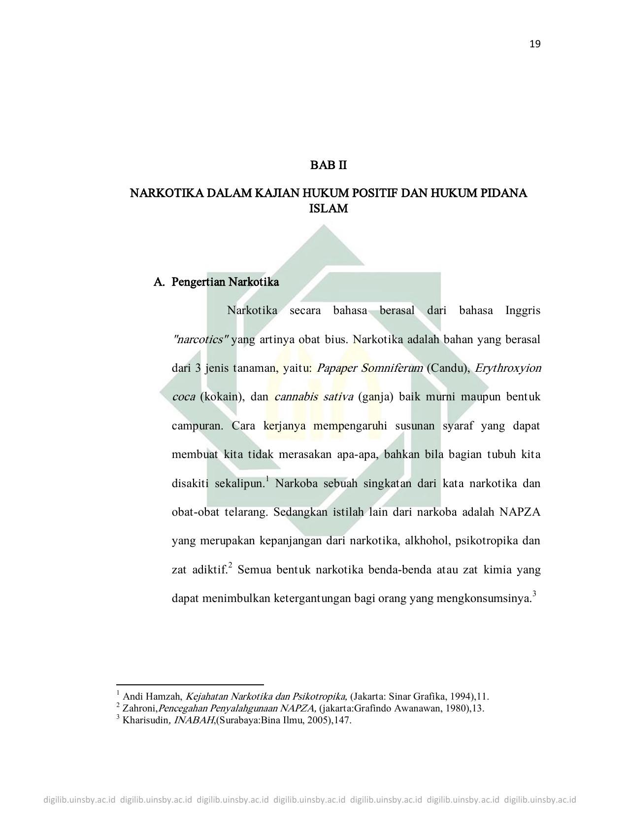Bab Ii Narkotika Dalam Kajian Hukum Positif Dan Hukum