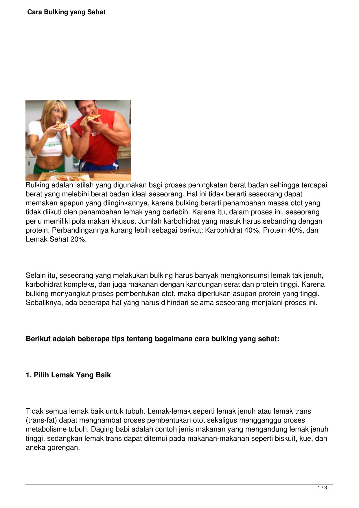 Cara Bulking Yang Sehat