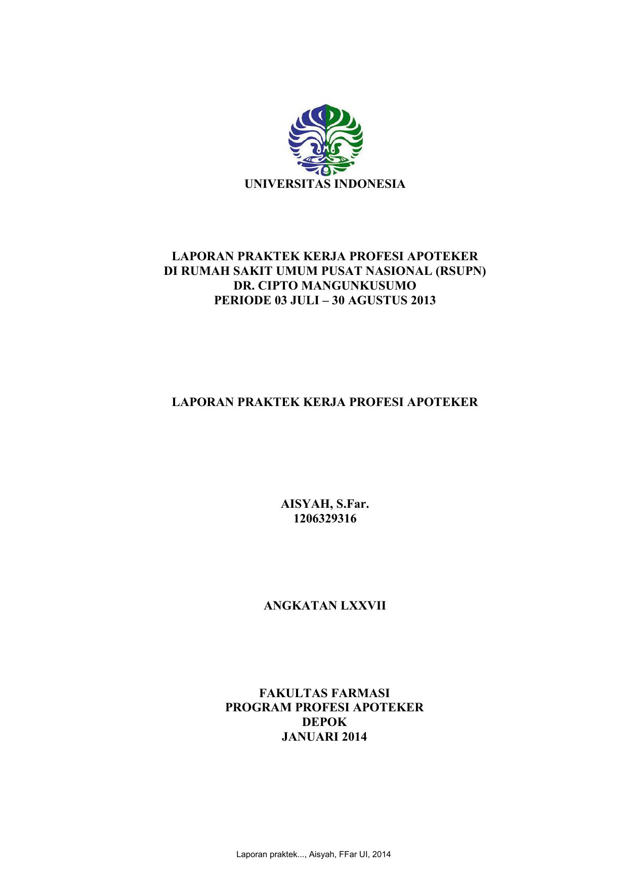 Universitas Indonesia Laporan Praktek Kerja Profesi Apoteker Di