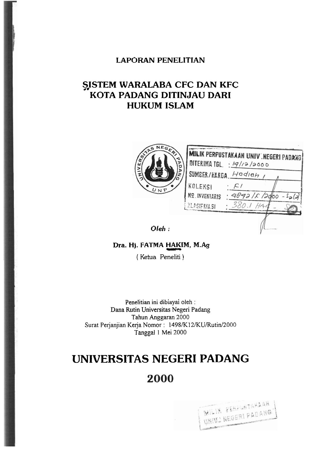 Sistem Waralaba Cfc Dan Kfc Universitas Negeri Padang Repository