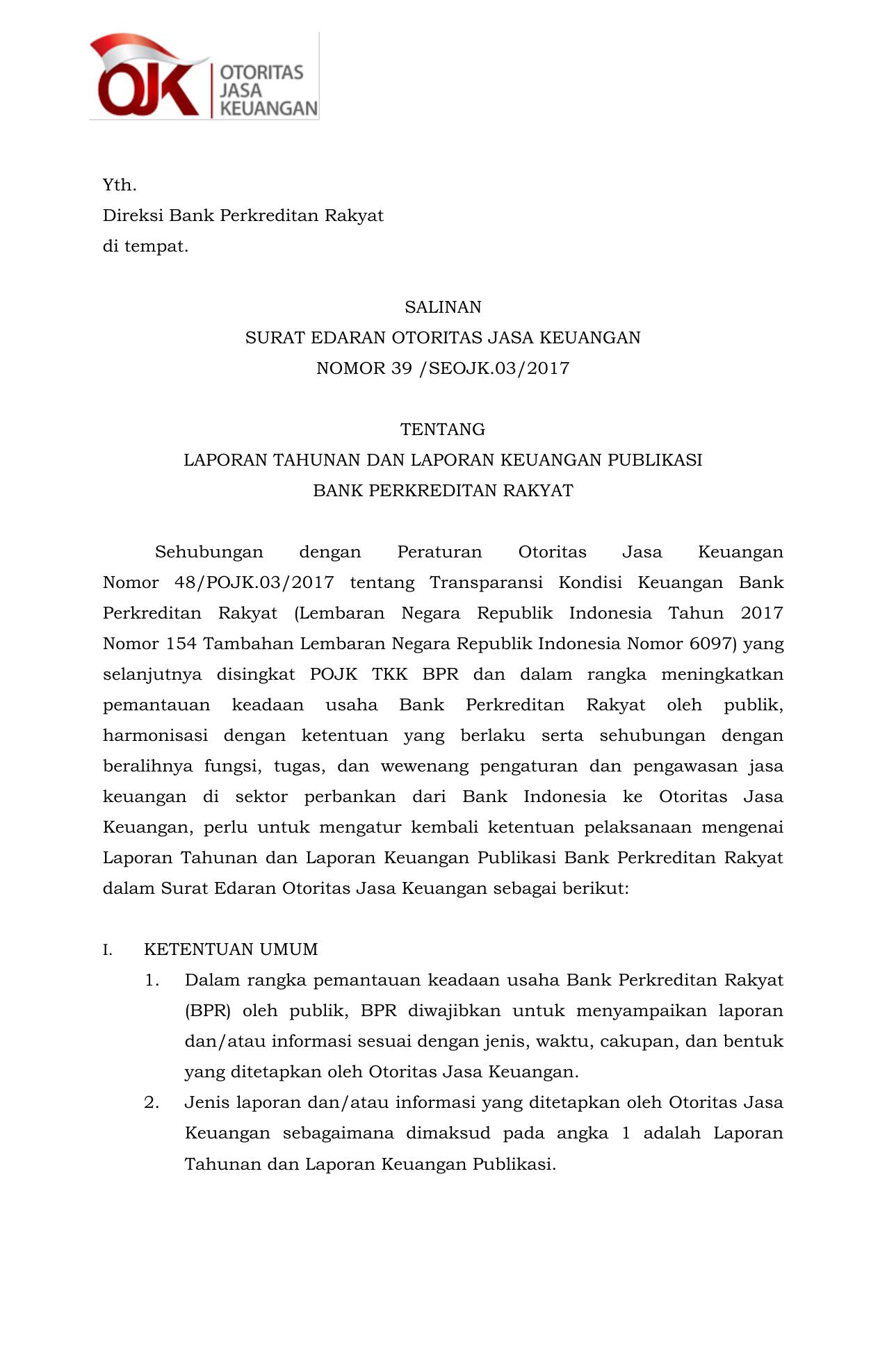 Yth Direksi Bank Perkreditan Rakyat Di Tempat Salinan Surat