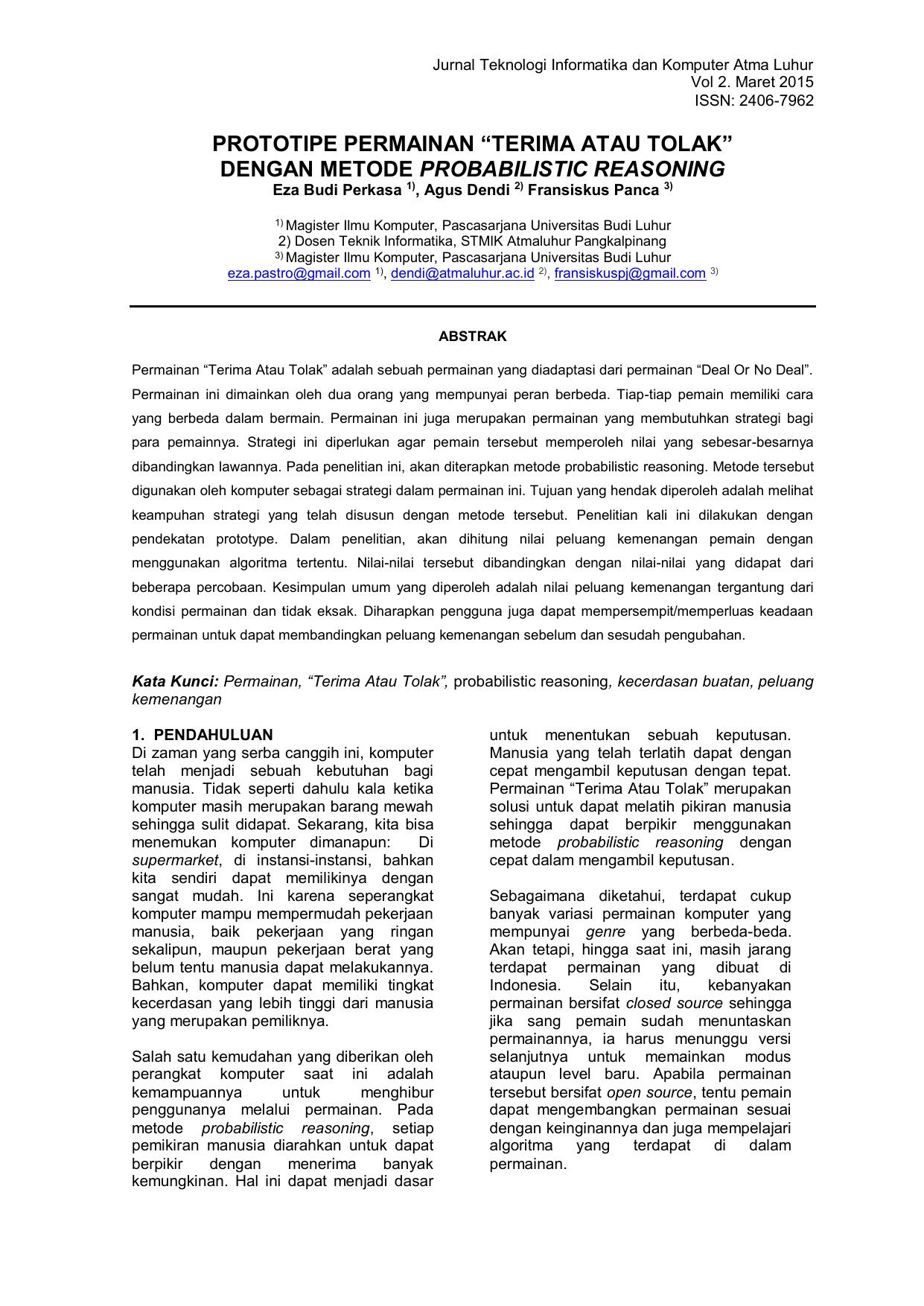 format sisfo - Jurnal STMIK Atma Luhur