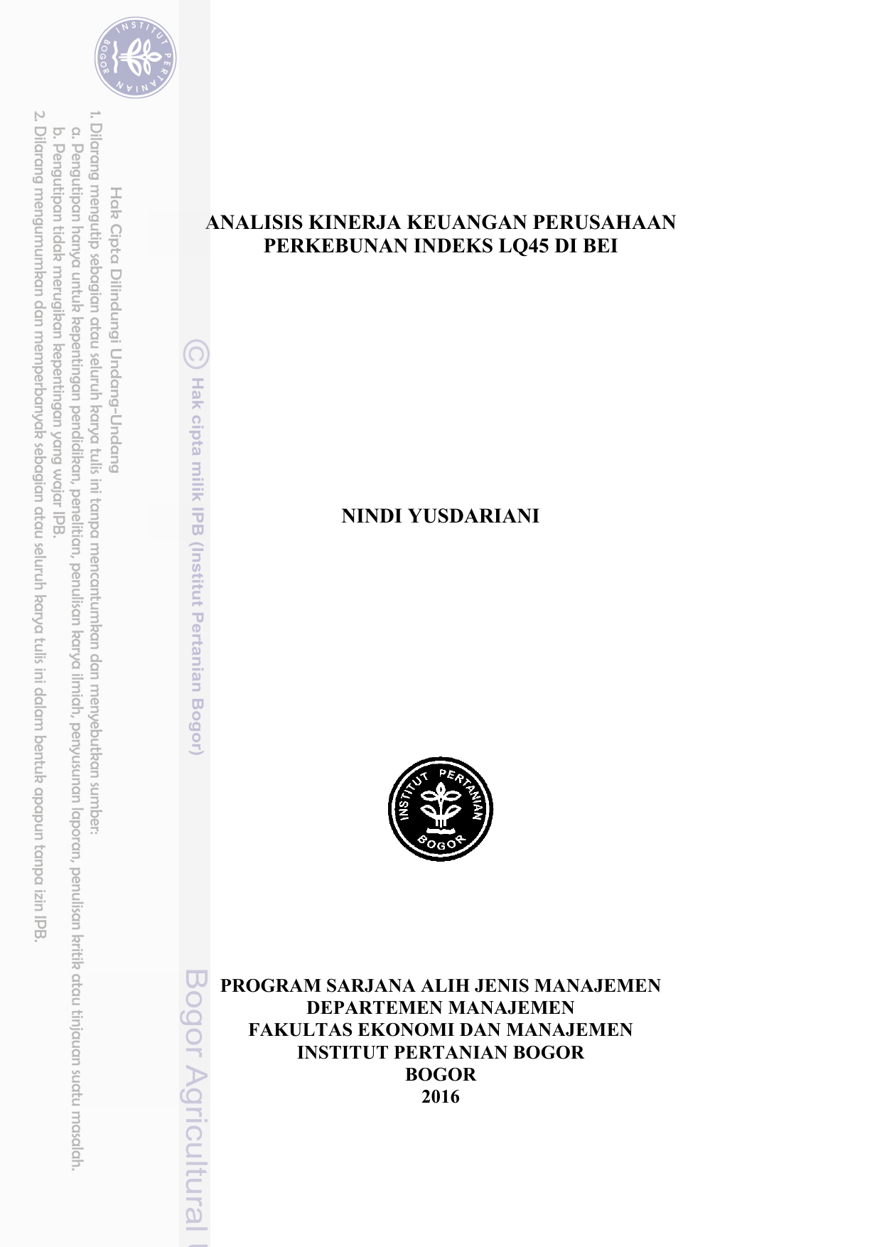 Nindi Yusdariani Analisis Kinerja Keuangan Perusahaan Perkebunan
