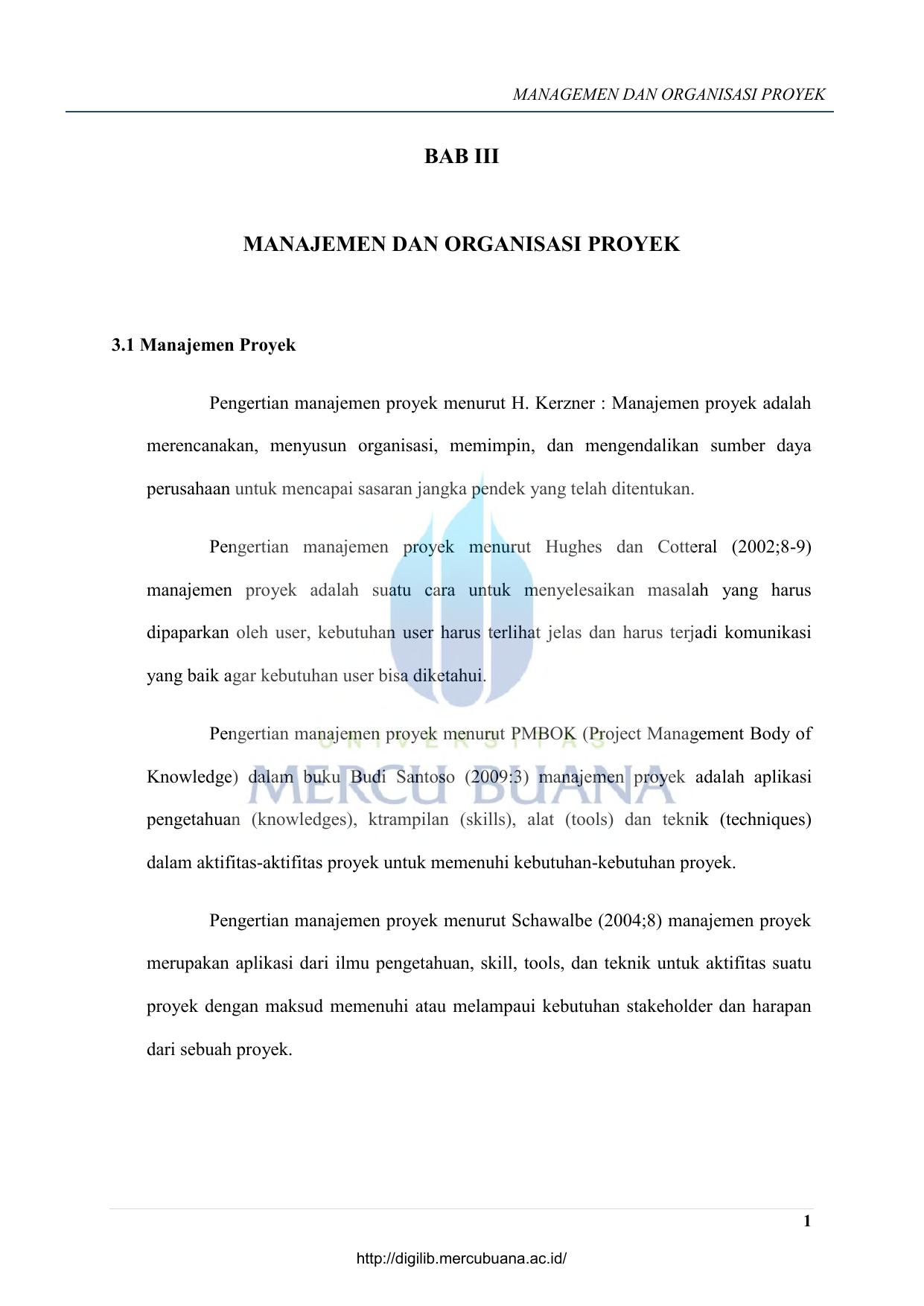 Bab Iii Manajemen Dan Organisasi Proyek