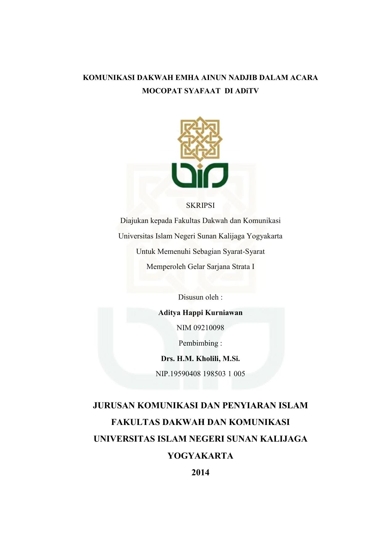 Jurusan Komunikasi Dan Penyiaran Islam Fakultas Dakwah Dan