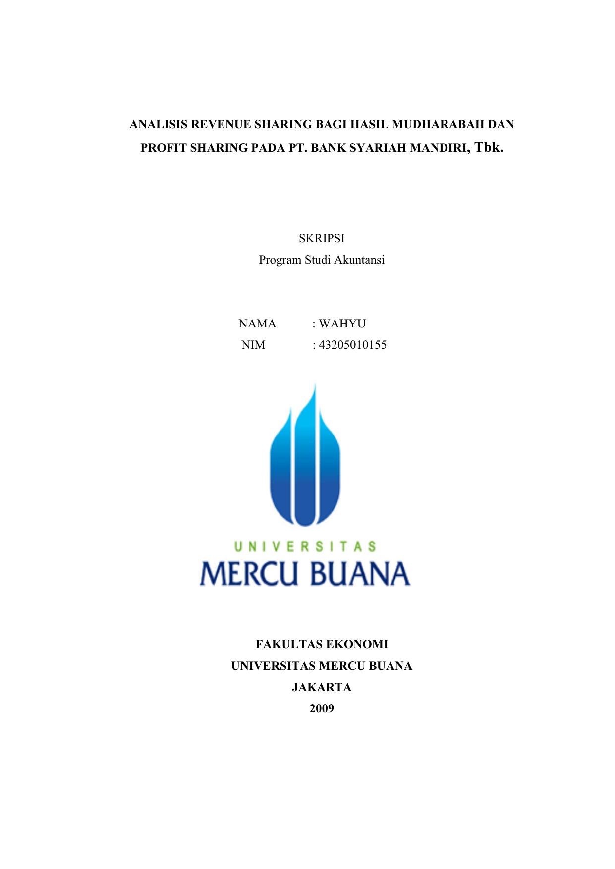 Analisis Revenue Sharing Bagi Hasil Mudharabah Dan