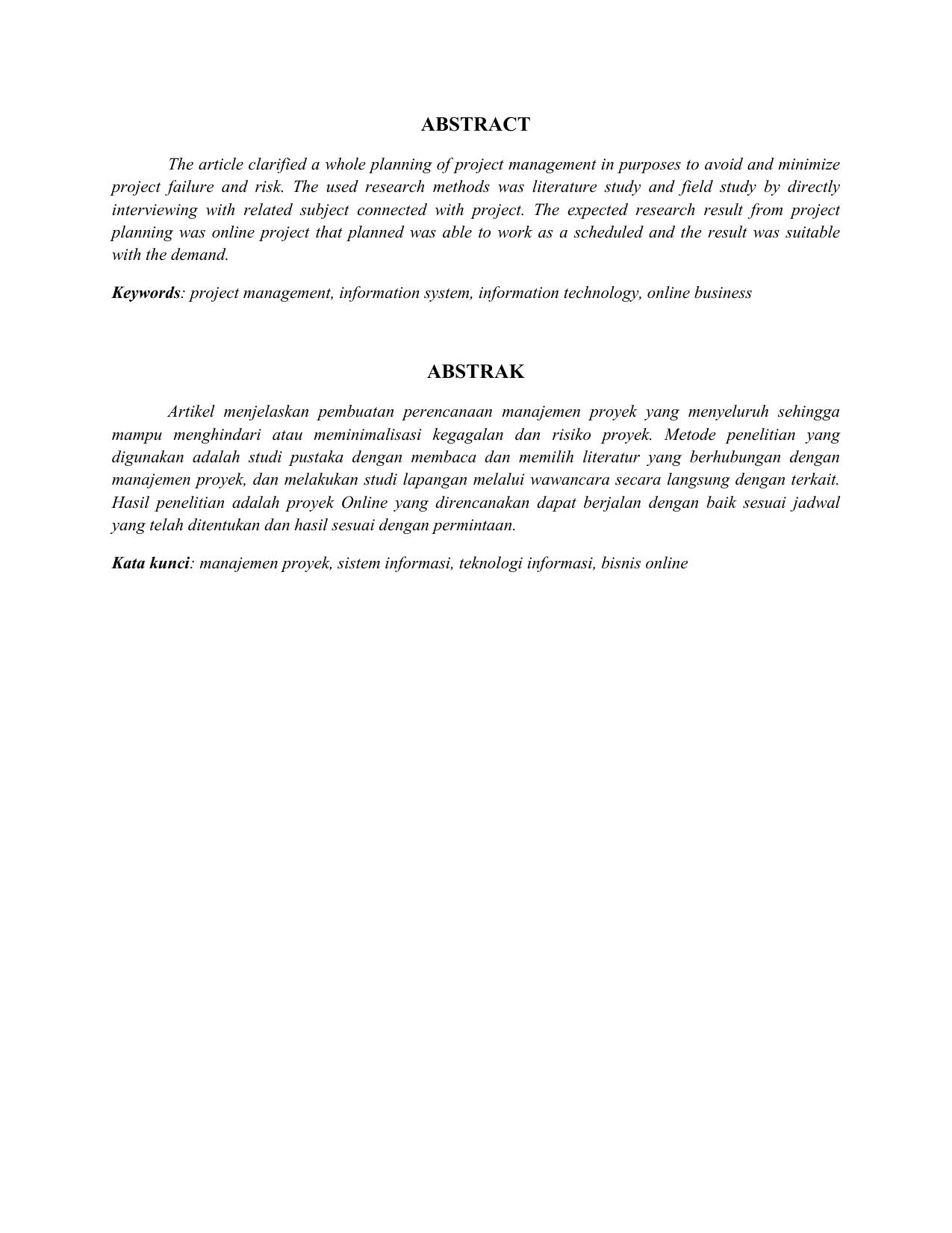 abstrak proyek sistem perdagangan online