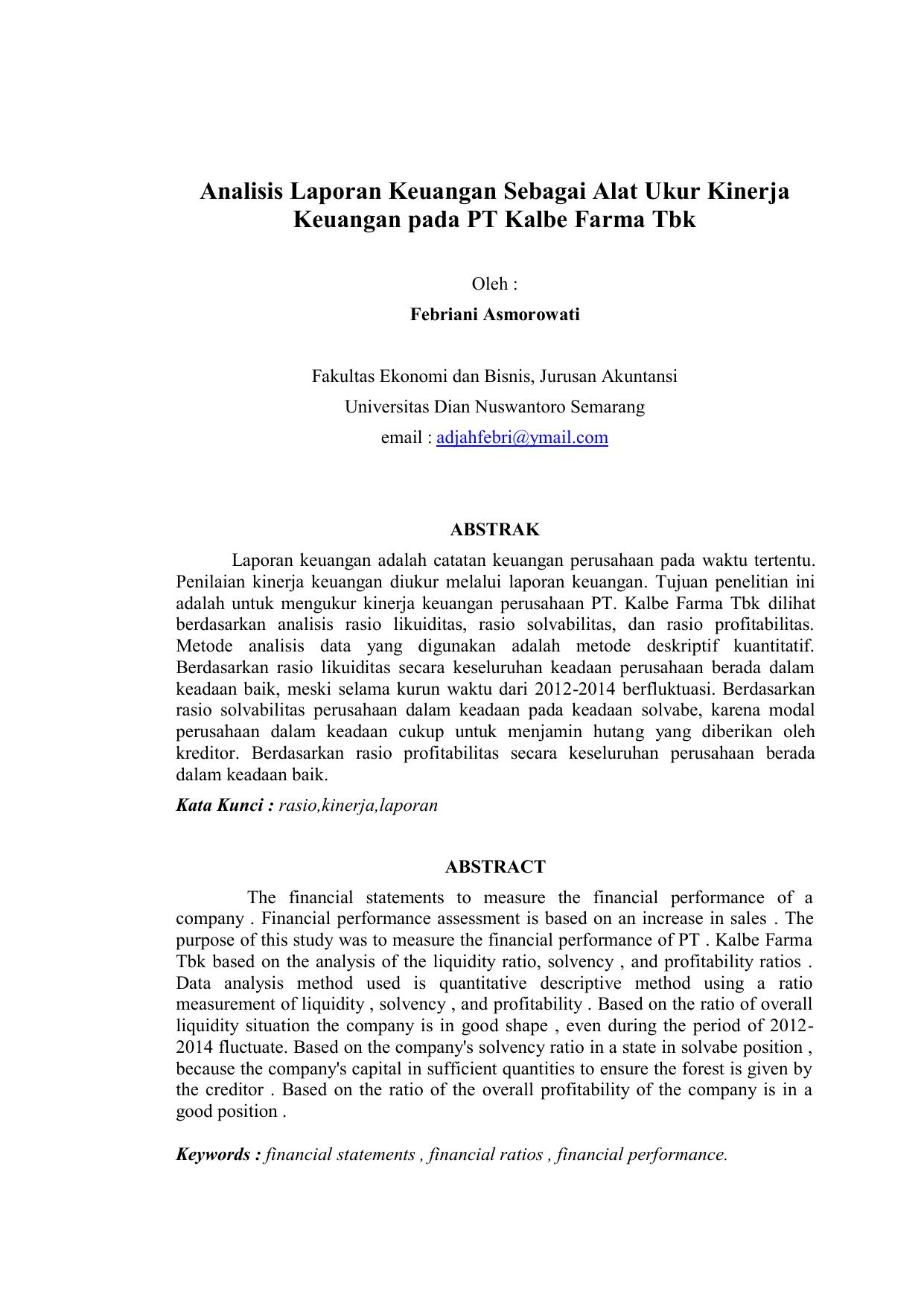 Analisis Laporan Keuangan Sebagai Alat Ukur Kinerja Keuangan