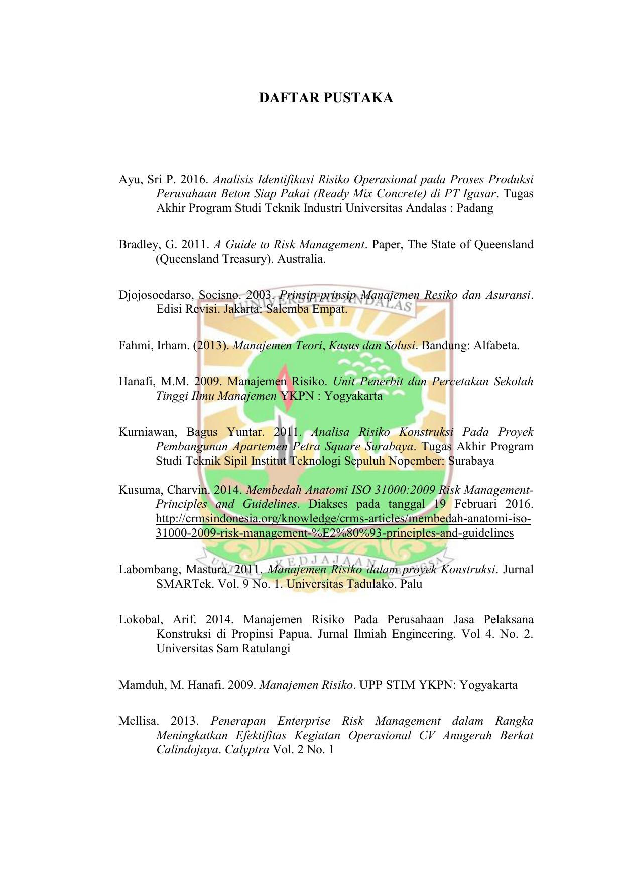 Daftar Pustaka Eskripsi Universitas Andalas