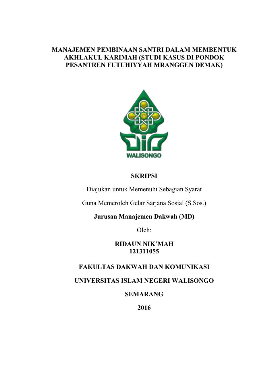 Contoh Judul Skripsi Manajemen Dakwah Uin Walisongo Semarang Ide