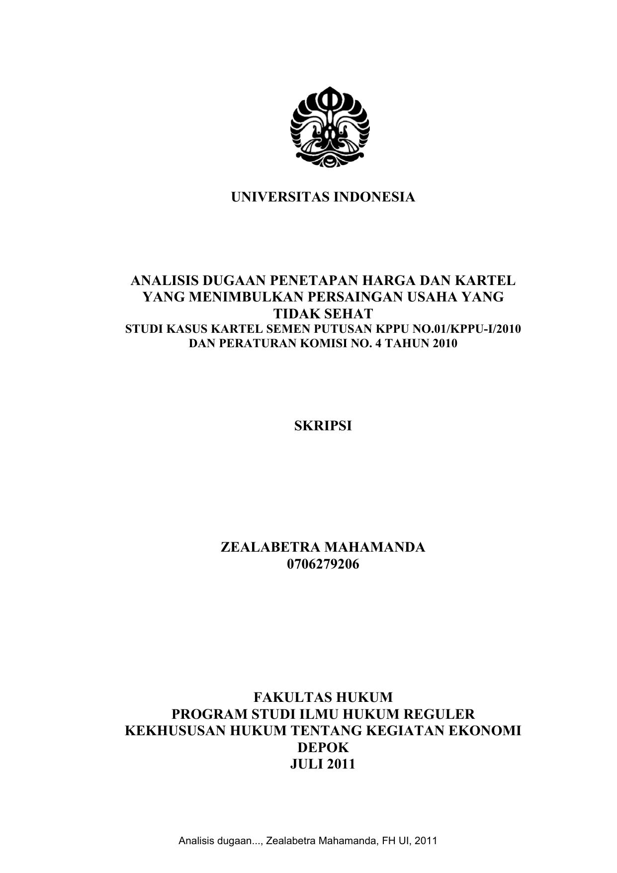 Universitas Indonesia Analisis Dugaan Penetapan Harga Dan Kartel